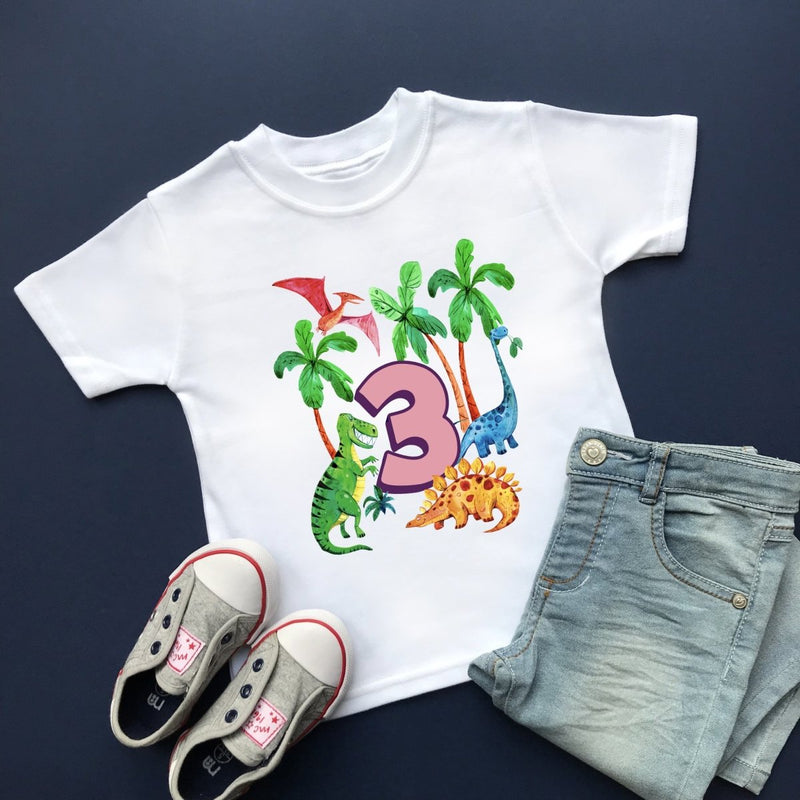 Dinosaur 3rd Birthday, Plain Top - Cotton and Bloom