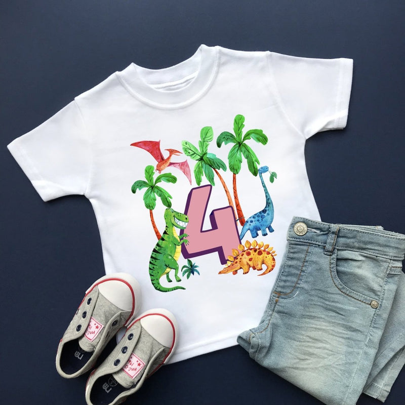 Dinosaur 4th Birthday, Plain Top - Cotton and Bloom