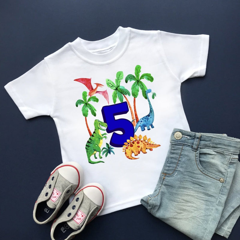 Dinosaur 5th Birthday, Plain Top - Cotton and Bloom