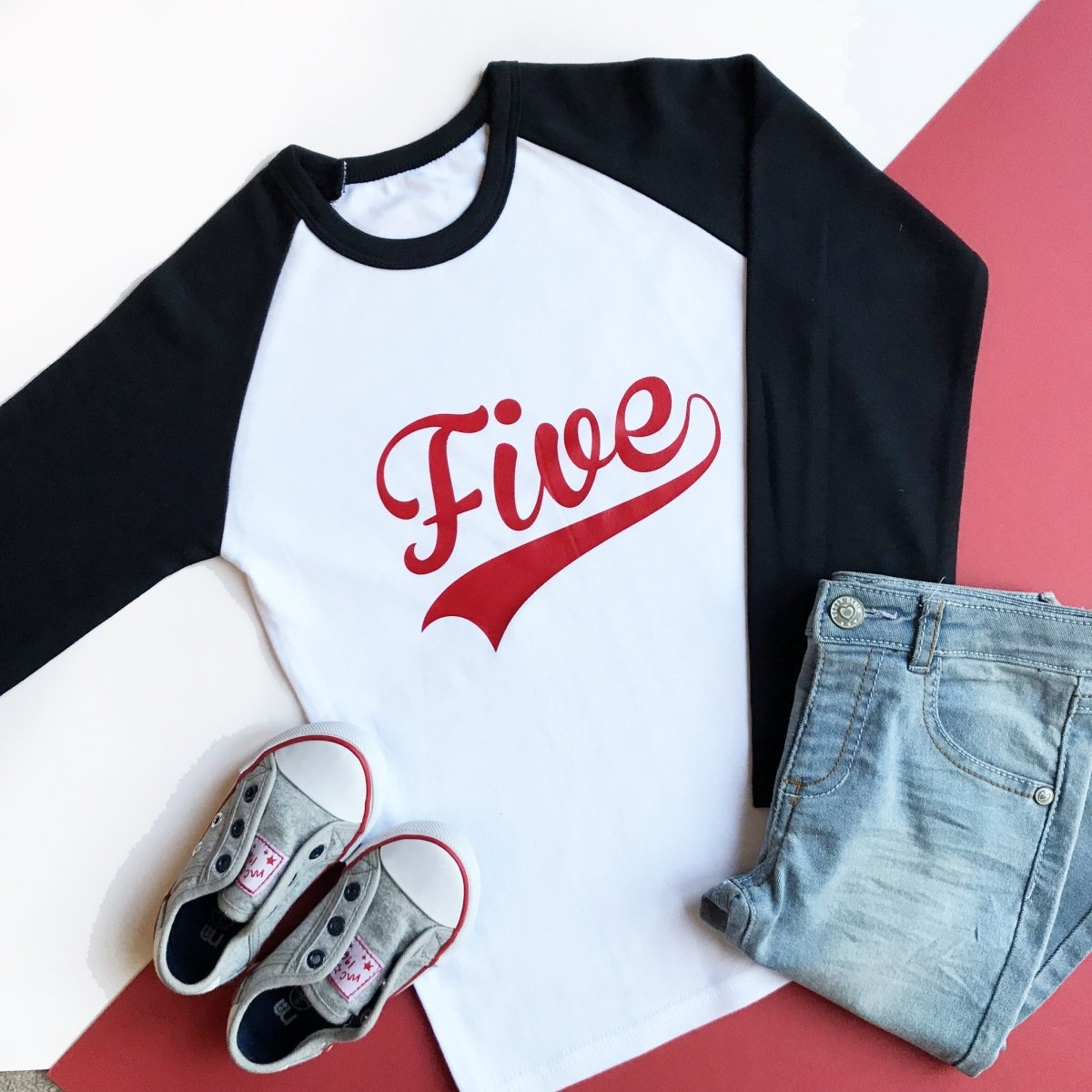 Fifth Birthday Raglan, Baseball Five Design