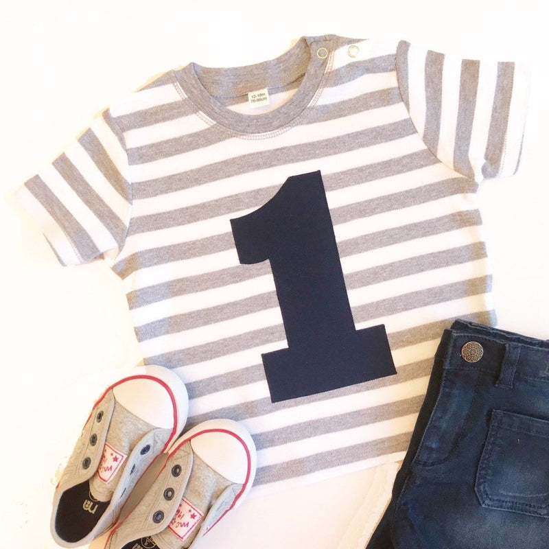First Birthday T-Shirt, Stripy Applique Top - Cotton and Bloom