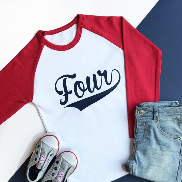 Fourth Birthday Raglan, Baseball Four Design
