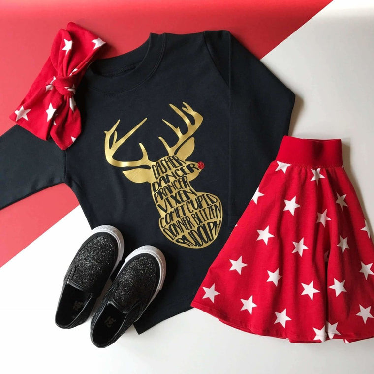 Girls Christmas Outfit, Reindeer Top and Red Skirt
