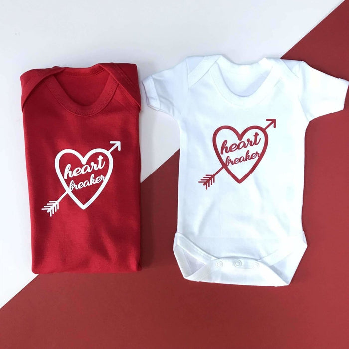 Heart Breaker, Valentines Baby Vest - Cotton and Bloom