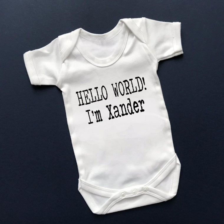 Hello World I'm ...., Personalised New Baby Vest