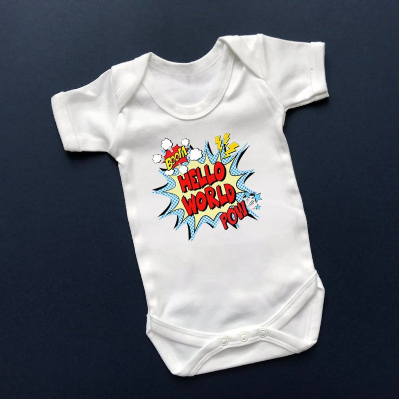 Hello World Newborn Outfit, Comic - Cotton and Bloom