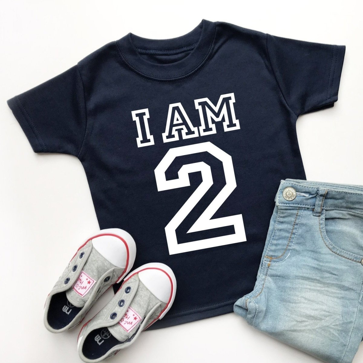 I Am 2 Second Birthday T-Shirt, Varsity Design
