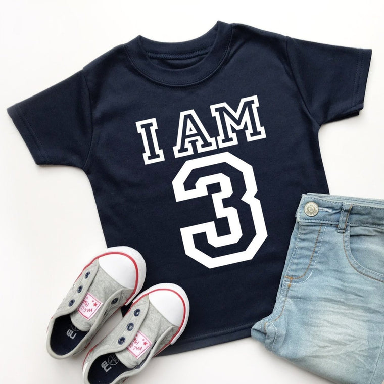 I am 3 Birthday Top, Varsity Design
