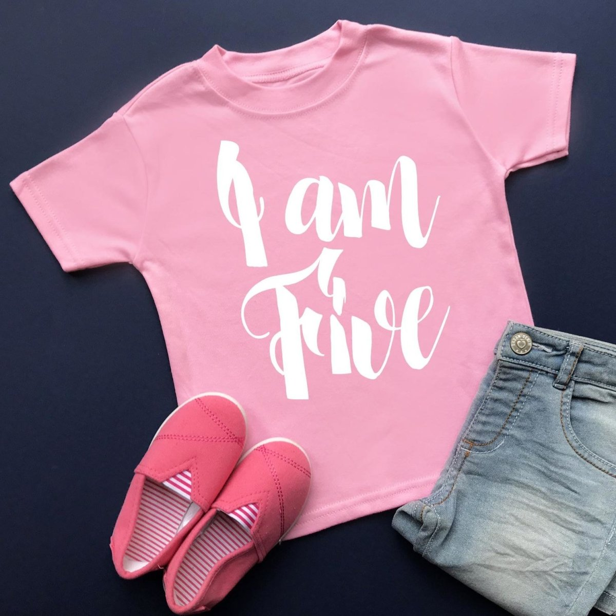 I am Five Birthday Top, Script Design - Cotton and Bloom