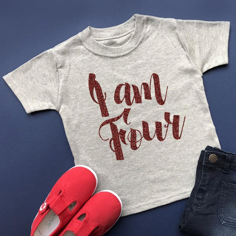 I am Four Birthday Top, Script Design - Cotton and Bloom