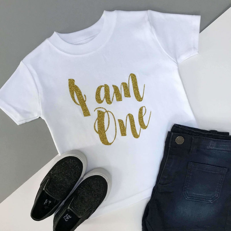 I am One 1st Birthday Top, Script Design - Cotton and Bloom