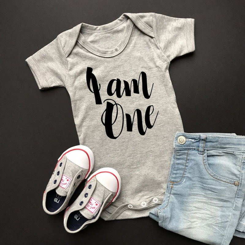 I am One Birthday Vest, Script Short Sleeve Vest Design - Cotton and Bloom