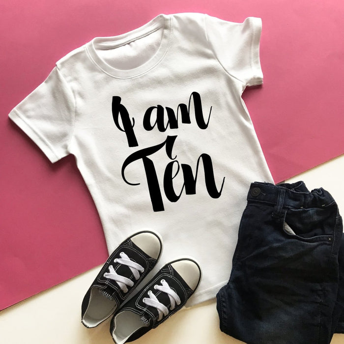 I am Ten Birthday Top, Script Design - Cotton and Bloom
