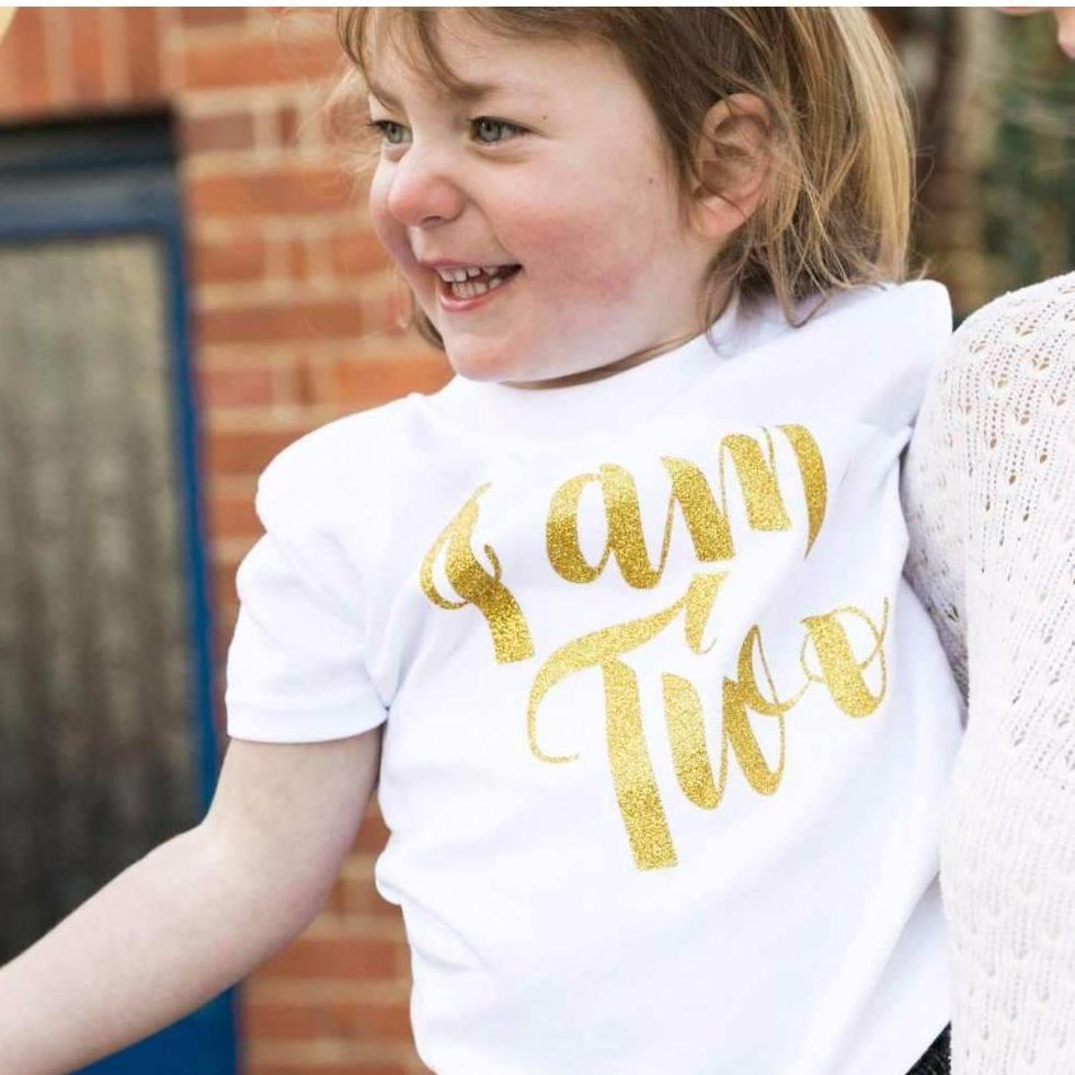 I Am Two Second Birthday T-Shirt, Script Design
