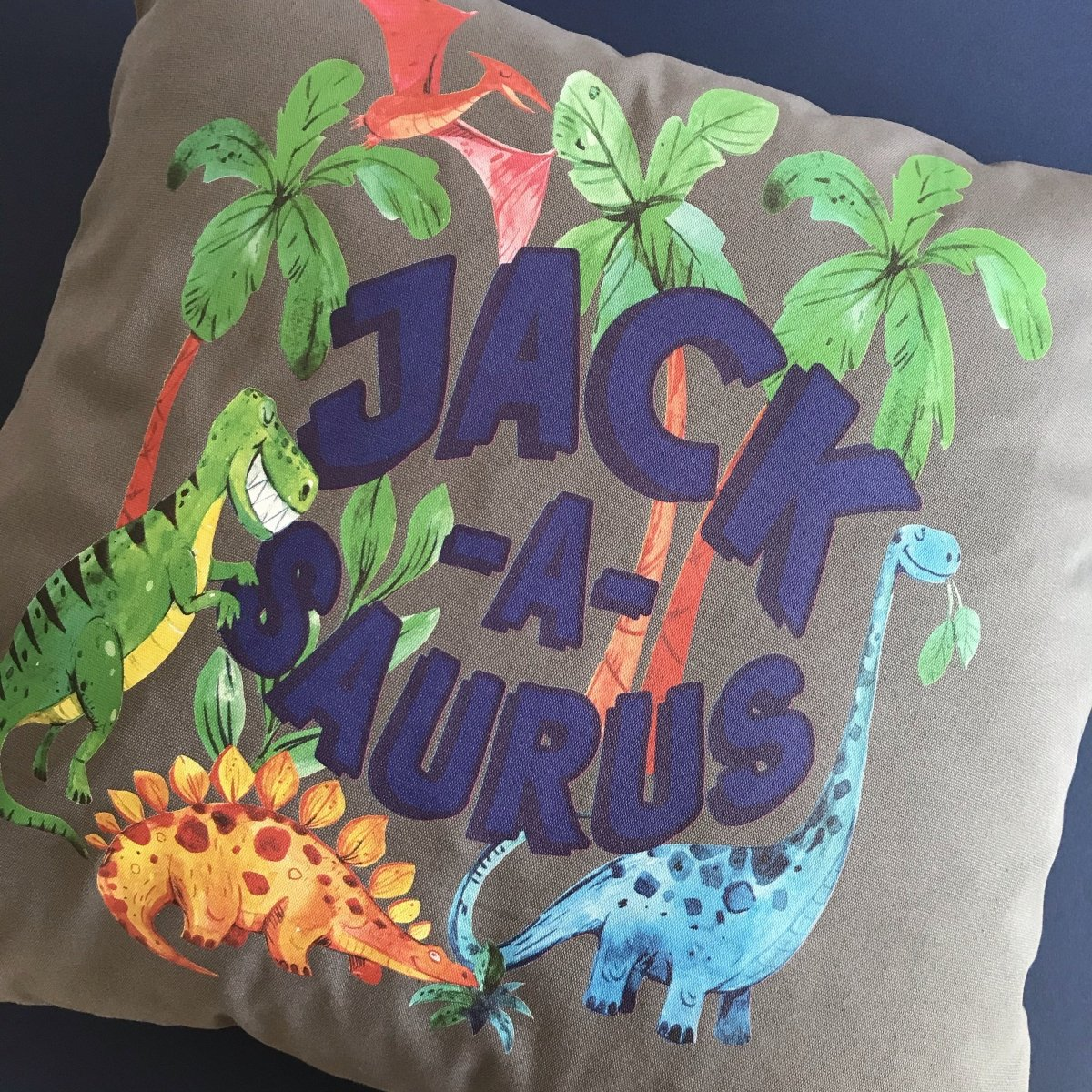 Kids Personalised Dinosaur Cushion, Cover Only or Cushion and Insert - Cotton and Bloom