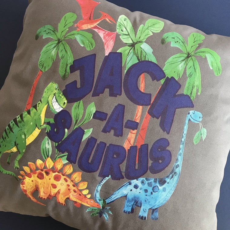 Kids Personalised Dinosaur Cushion, Cover Only or Cushion and Insert