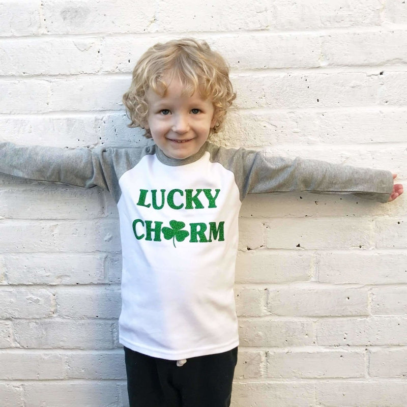 Lucky Charm Kids Raglan, St Patrick's Day Shirt - Cotton and Bloom