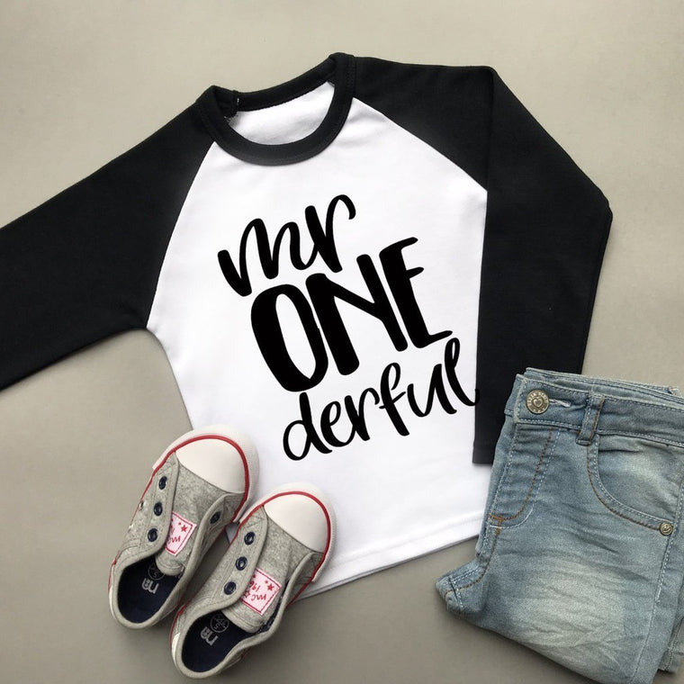 Mr Onederful Raglan Shirt, Boys First Birthday Top