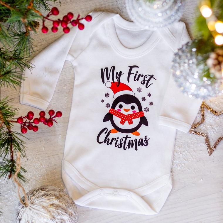 My First Christmas Penguin Vest or Sleep Romper