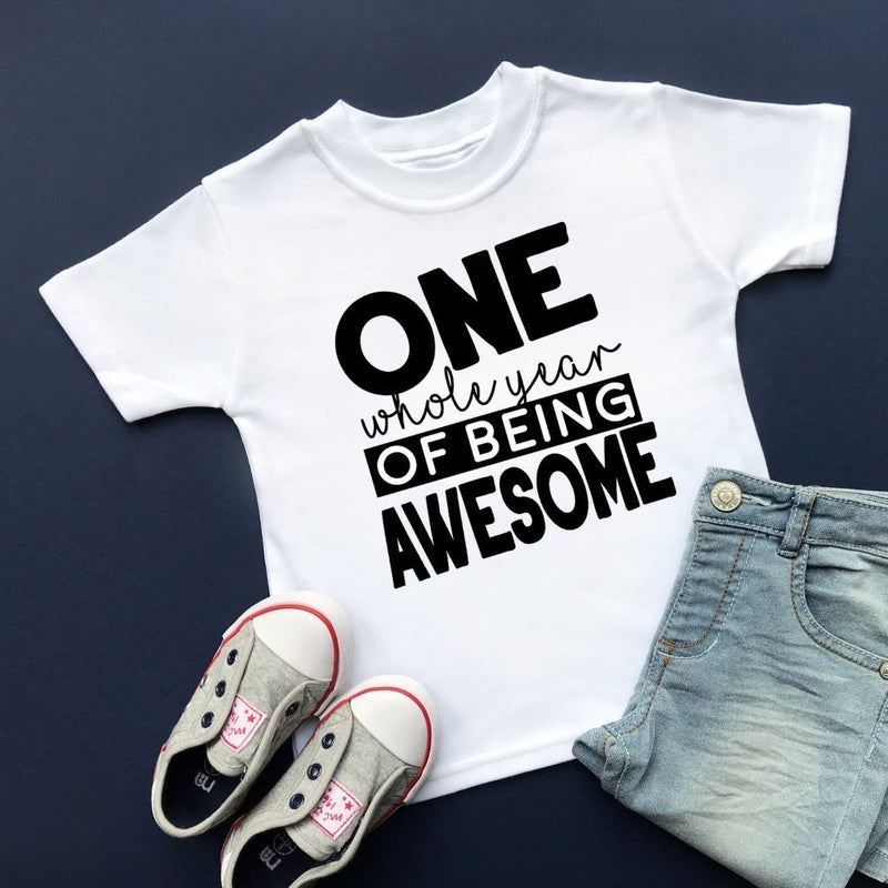 One Whole Year of Being Awesome T-Shirt, 1st Birthday Top - Cotton and Bloom