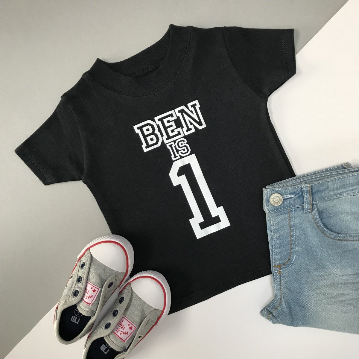 1st Birthday Shirt Personalised, Varsity Design