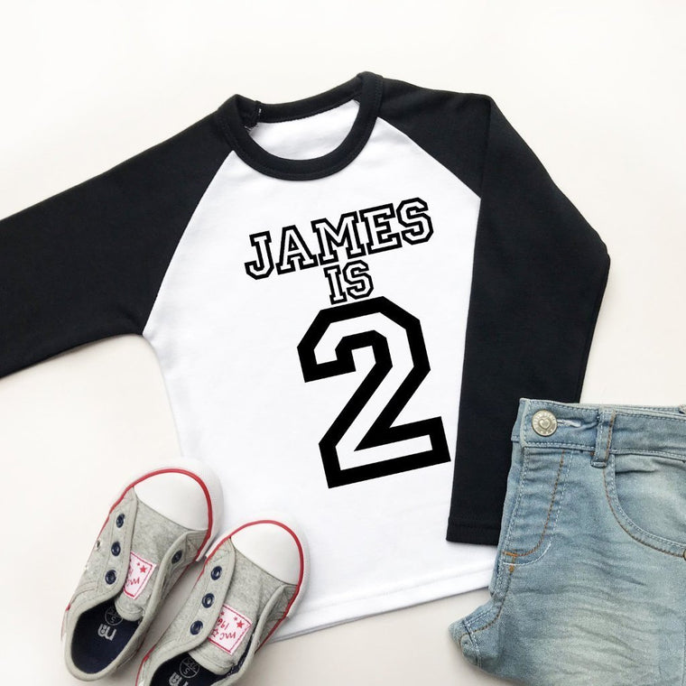 Personalised 2nd Birthday Raglan, Varsity 2 Design