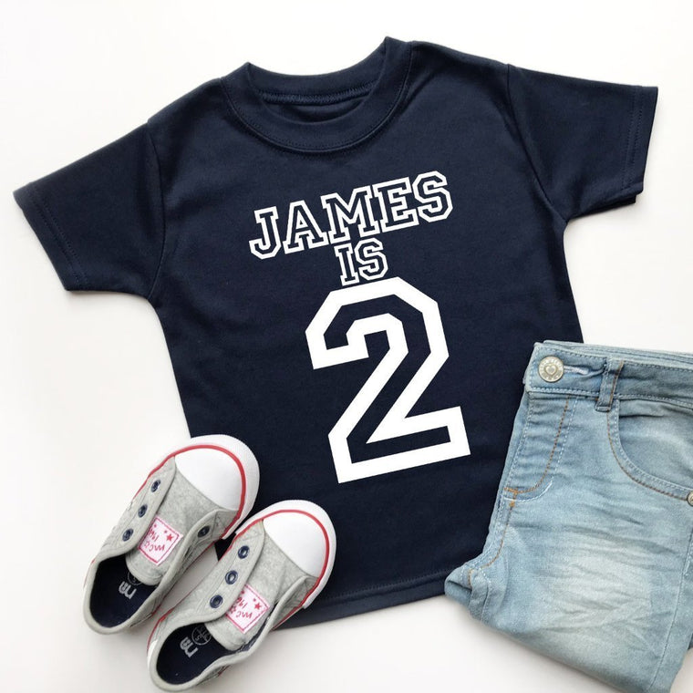 Personalised 2nd Birthday Top, Varsity Design