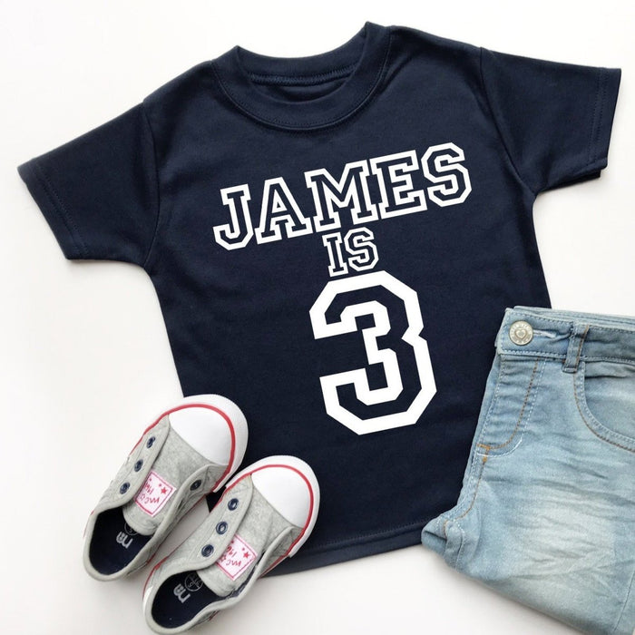 Personalised 3rd Birthday Top, Varsity Design - Cotton and Bloom