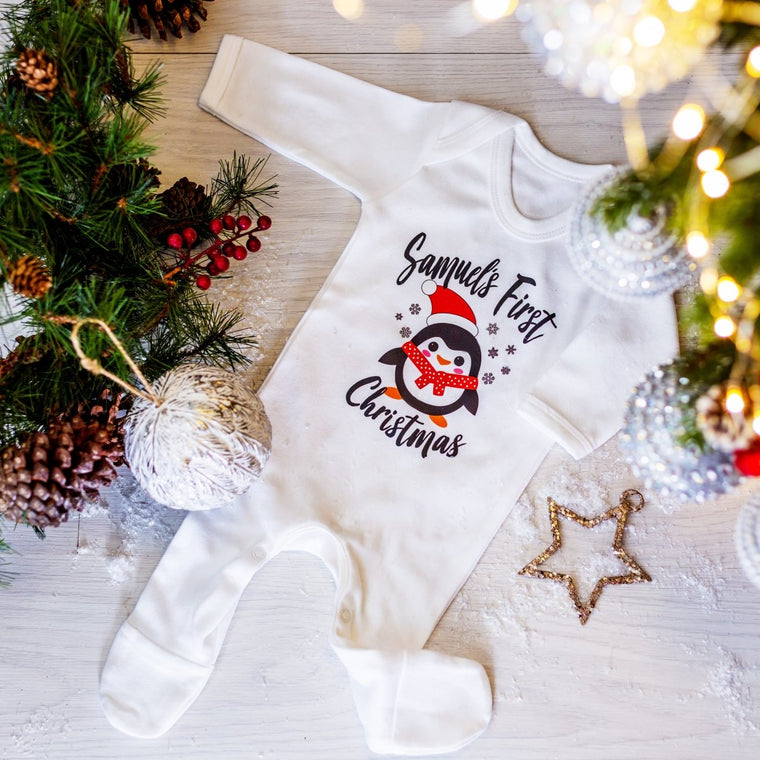 Personalised My First Christmas Penguin Vest or Sleep Romper