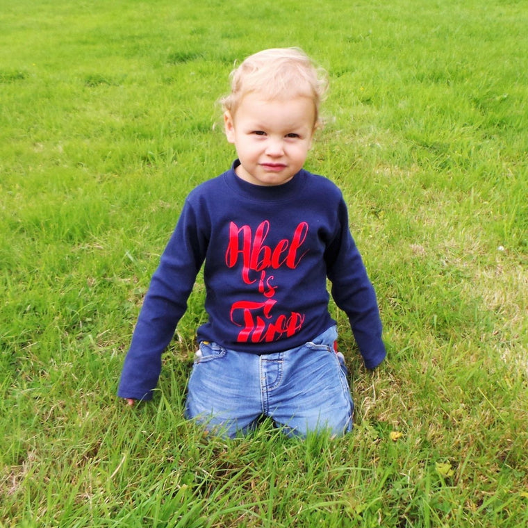 Personalised Second Birthday Top, Script Design