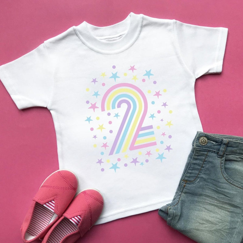 Rainbow 2nd Birthday T-Shirt, Pastel or Bright - Cotton and Bloom