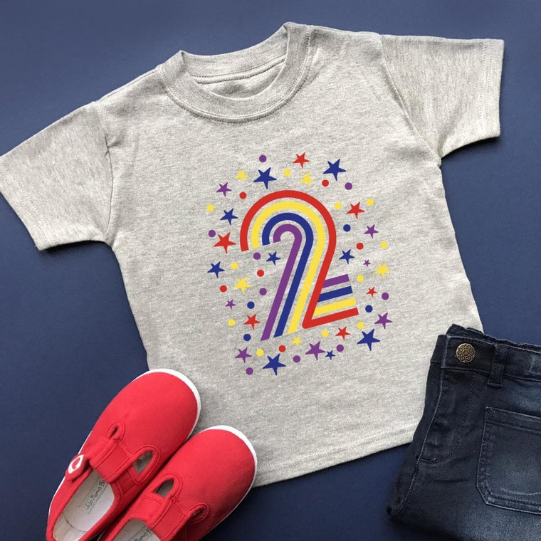 Rainbow 2nd Birthday T-Shirt, Pastel or Bright