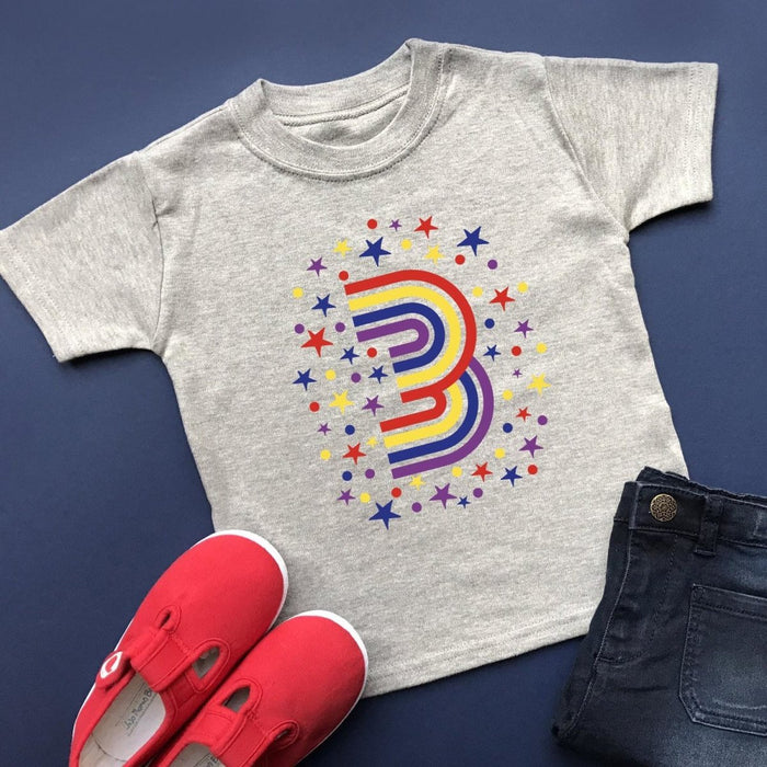 Rainbow 3rd Birthday T-Shirt, Pastel or Bright - Cotton and Bloom
