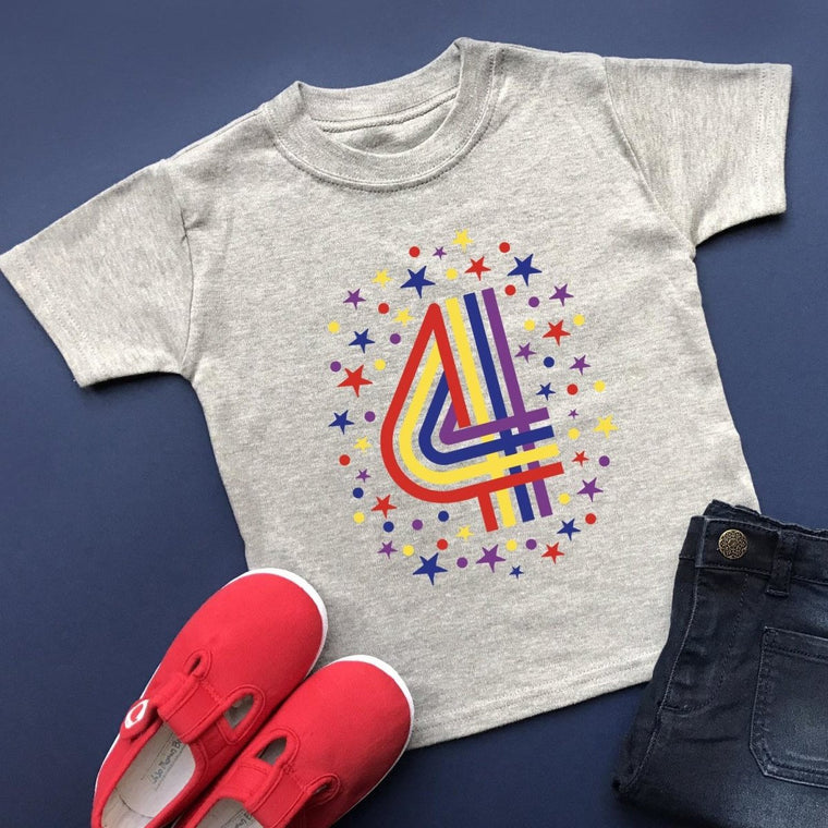 Rainbow 4th Birthday T-Shirt, Pastel or Bright
