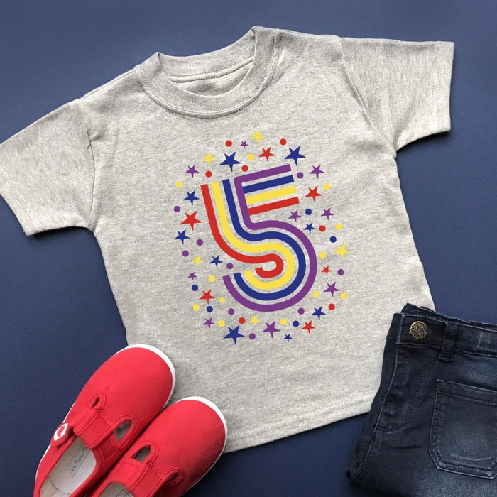 Rainbow 5th Birthday T-Shirt, Pastel or Bright - Cotton and Bloom