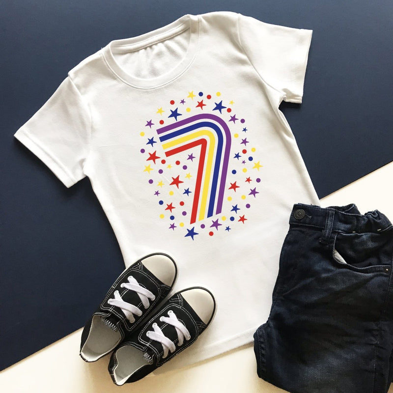 Rainbow 7th Birthday T-Shirt, Pastel or Bright - Cotton and Bloom
