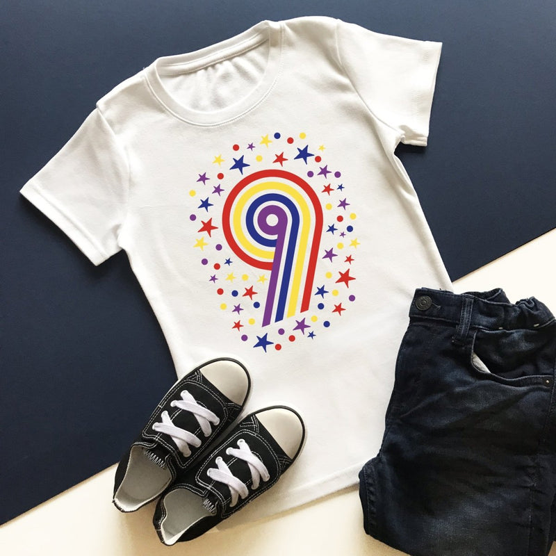 Rainbow 9th Birthday T-Shirt, Pastel or Bright - Cotton and Bloom