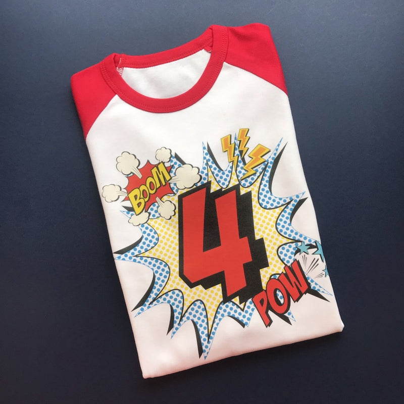 READY TO SHIP - Comic 4th Birthday Raglan - Cotton and Bloom