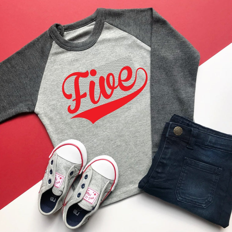 READY TO SHIP: Five Baseball Raglan