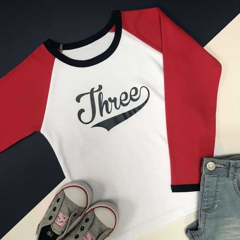 Third Birthday Raglan, Baseball Design - Cotton and Bloom