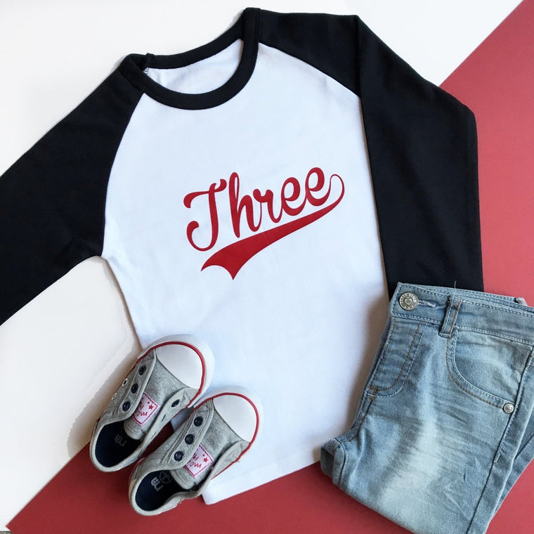 Third Birthday Raglan, Baseball Three Design