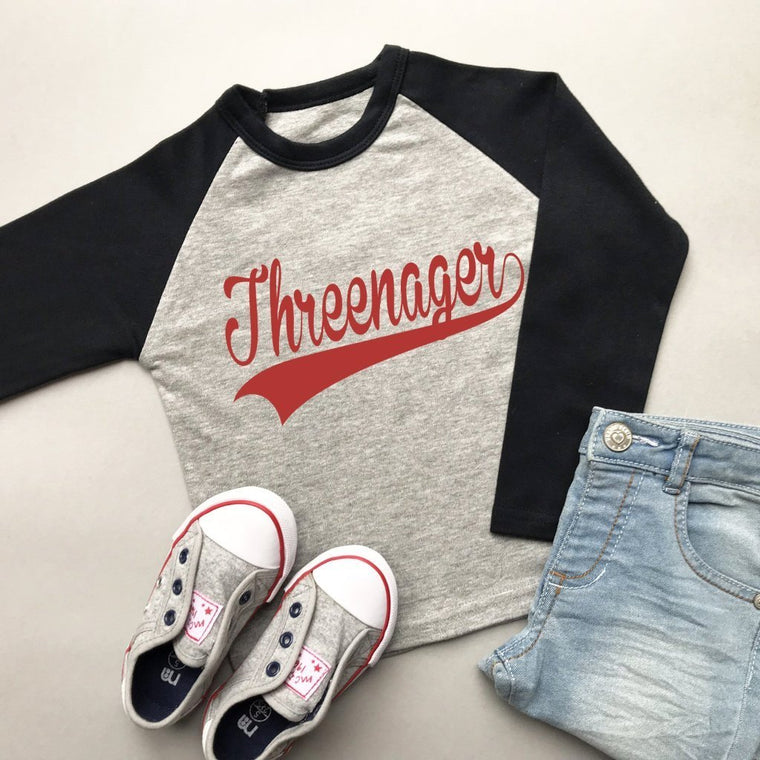 Third Birthday Raglan Shirt, Baseball Threenager Design