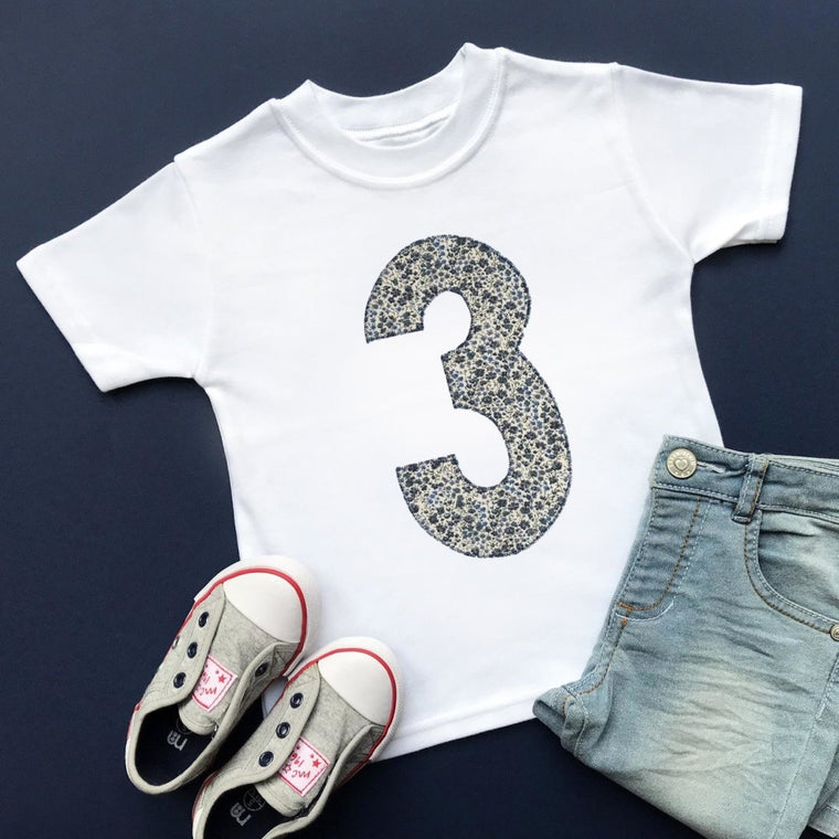 Third Birthday Top, Liberty of London Fabric Appliqué Design