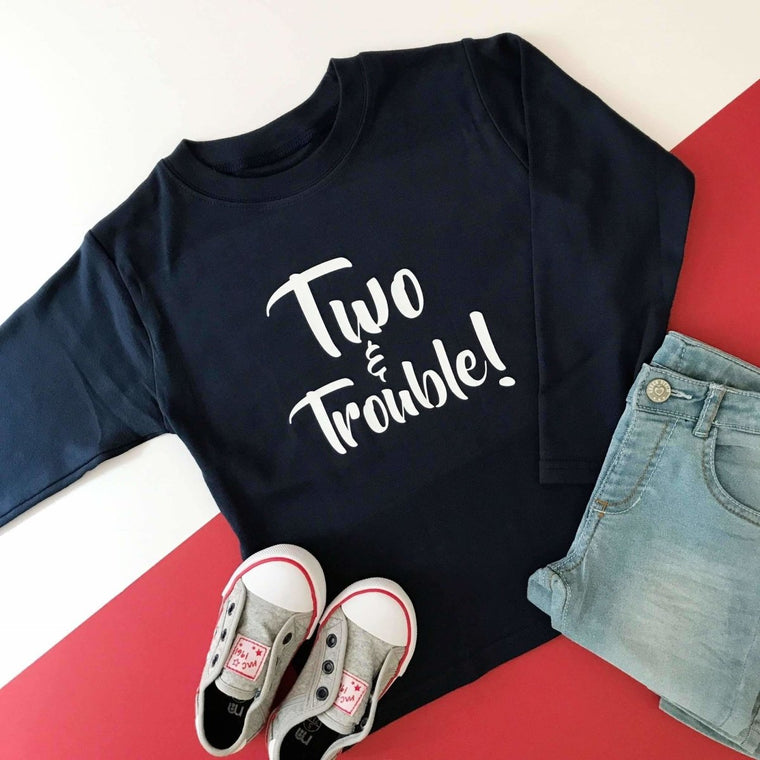 Two & Trouble Second Birthday T-Shirt, Mountain Design