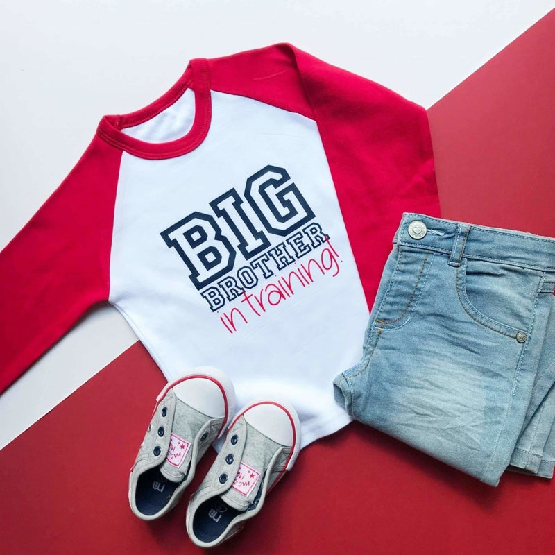 Varsity Big Brother In Training, Raglan Top - Cotton and Bloom
