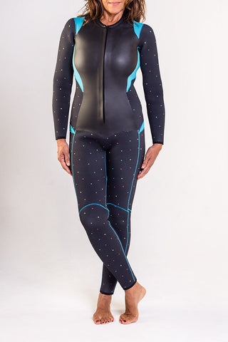 The Truli-Ful the Beautiful 5.5mm Wetsuit - Almost Black/Dots/Turquoise