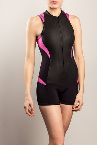 Womens-Wetsuit-Shorty-Front-Pink-TruliWetsuits