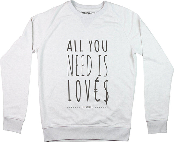 Sweatshirt All you need is lovés Blanc crème by [FRENCHKIFF]