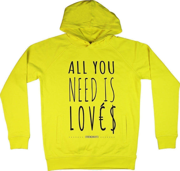 Sweat à capuche All you need is lovés Jaune by [FRENCHKIFF]