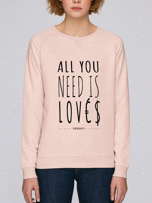 Sweatshirt Femme All you need is lovés Beige chiné by [FRENCHKIFF]